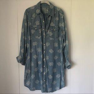 GAP 1969 denim print shirt dress